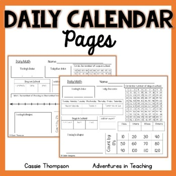 Daily Math Calendar Pages