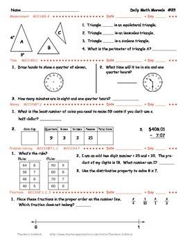 Daily Math Morsels #3 (Grades 3 - 4)