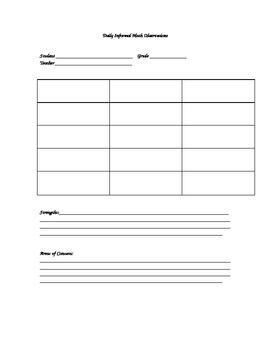 Daily Math Observation Sheet