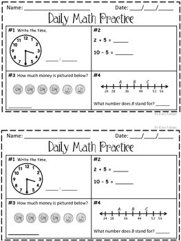 Daily Math Practice 100 for 2nd Grade!