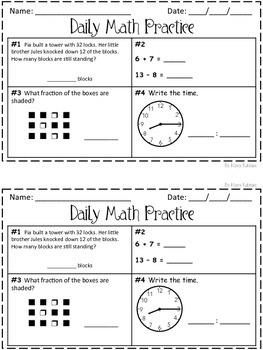 Daily Math Practice! 2nd Grade Set 1