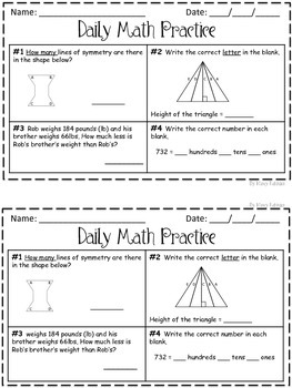 Daily Math Practice 3rd Grade Set 1