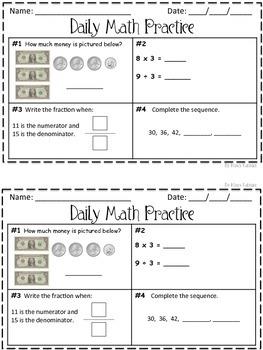 Daily Math Practice 3rd Grade Set 1