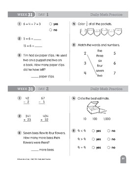 Daily Math Practice Bundle, Grade 1, Weeks 31-36