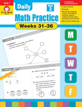 Daily Math Practice Bundle, Grade 3, Weeks 31-36