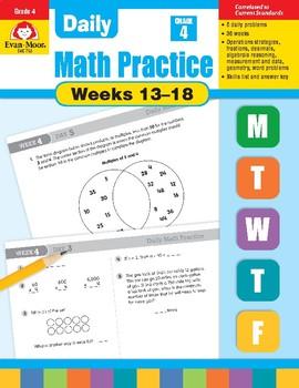 Daily Math Practice Bundle, Grade 4, Weeks 13-18