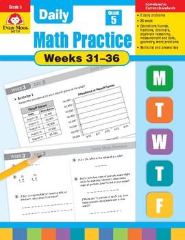 Daily Math Practice Bundle, Grade 5, Weeks 31-36