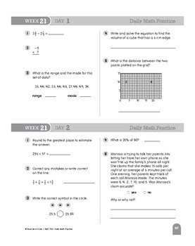 Daily Math Practice Bundle, Grade 6, Weeks 19-24