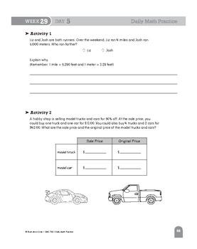 Daily Math Practice Bundle, Grade 6, Weeks 25-30
