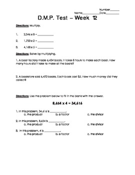 Daily Math Practice (D.M.P.) Grade 3 - Week 12 Test