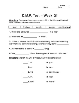 Daily Math Practice (D.M.P.) Grade 3 - Week 21 Test