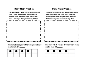 Daily Math Practice Journal Sheets for First Grade-Duval Math