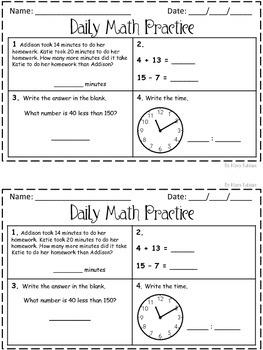 Daily Math Practice! 2nd Grade Set 3