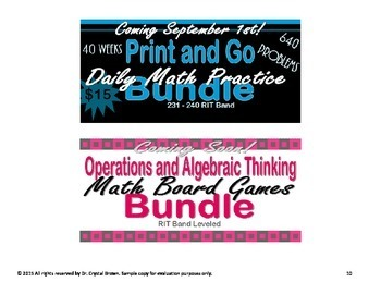 Daily Math Practice Bundle for RIT Band 211 - 220