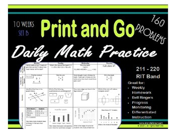 Daily Math Practice for RIT Band 211 - 220 Set B