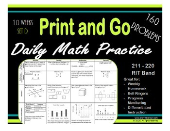Daily Math Practice for RIT Band 211 - 220 Set D
