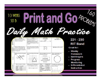 Daily Math Practice for RIT Band 221 - 230 Set B