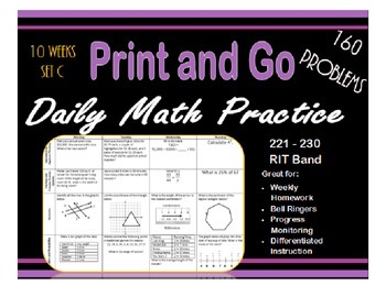 Daily Math Practice for RIT Band 221 - 230 Set C