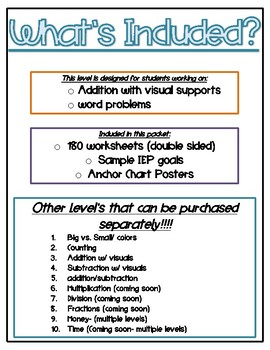 Daily Math Practice for Students with Autism- Level 3/Addition with Visuals