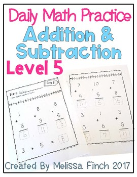 Daily Math Practice for Students with Autism- Level 5/Addition & Subtraction