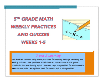 Daily Math Practices:  Weeks 1-5 (Answer Keys included)