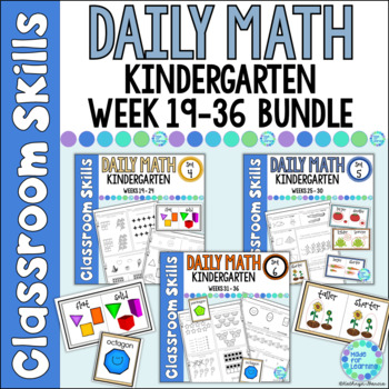 Daily Math Printables BUNDLE for Kindergarten:  2nd Semest