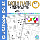 Daily Math Worksheets for Kindergarten Set 4 Weeks 19-24