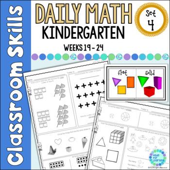 Daily Math Worksheets for Kindergarten Set 4 Weeks 19-24