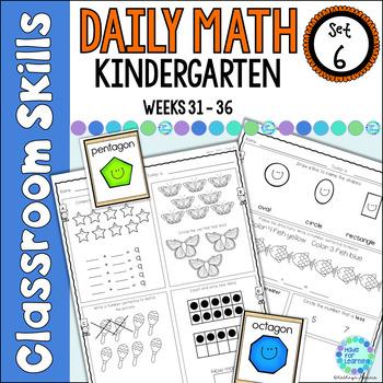 Daily Math Worksheets for Kindergarten Set 6 Weeks 31-36