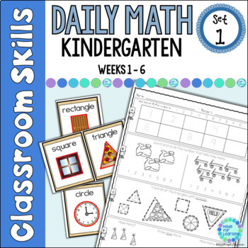 Daily Math Worksheets For Kindergarten Set 1 Weeks 1 6 Tpt