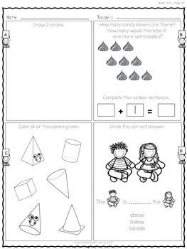 Daily Math Printables for Kindergarten: Set 2: Weeks 7-12