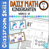 Daily Math Worksheets for Kindergarten Set 3 Weeks 13-18