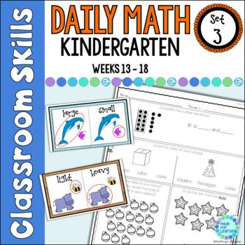 Daily Math Worksheets for Kindergarten Set 3 Weeks 13-18