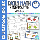 Daily Math Worksheets for Kindergarten Set 5 Weeks 25 - 30