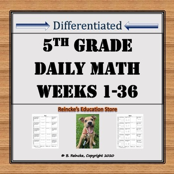 Daily Math Problems 5th Grade Common Core (36 weeks)