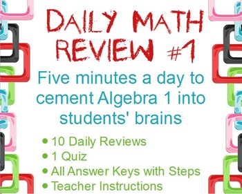Daily Math Review #1: Openers to Review for Final Exam & Standardized Tests