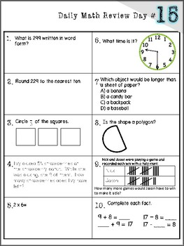 3rd Grade Daily Math Review - 170 Days of Spiral Review