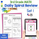 3rd Grade Daily Spiral Math Review Set 1 - TEKs/STAAR Aligned
