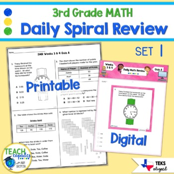 3rd Grade Daily Spiral Math Review Set 1 - TEKs/STAAR Aligned