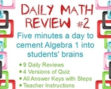 Daily Math Review #2: Openers to Review for Final Exam & Standardized Tests