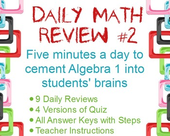 Daily Math Review #2: Openers to Review for Final Exam & S