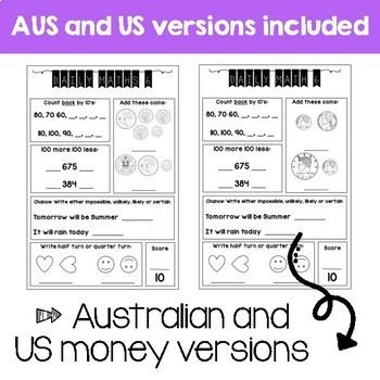 Daily Math Review 2nd Grade - Term 3 (Aus & US Version)