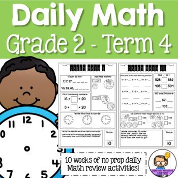 Daily Math Review 2nd Grade - Term 4 (Aus & US Version)
