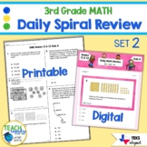 3rd Grade Daily Spiral Math Review Set 2 - TEKs/STAAR Aligned
