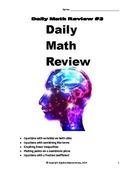 Daily Math Review #3: Openers to review for standardized tests