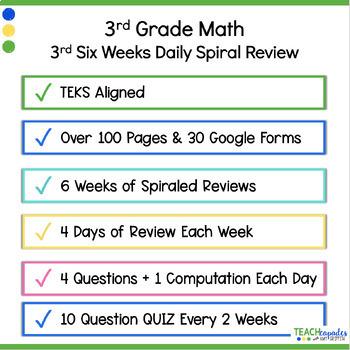 Daily 3rd Grade STAAR Math Review 3rd Six Weeks - New Math TEKs