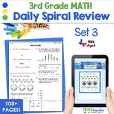 3rd Grade Daily Spiral Math Review Set 3 - TEKs STAAR Aligned