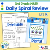 3rd Grade Daily Spiral Math Review Set 3 - TEKs STAAR Aligned