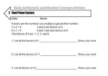 Daily Math Review : Arithmetic and Number Concepts