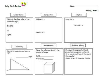 Daily Math Review (Eighteen Weeks), Morning Work, Daily Warm-up
